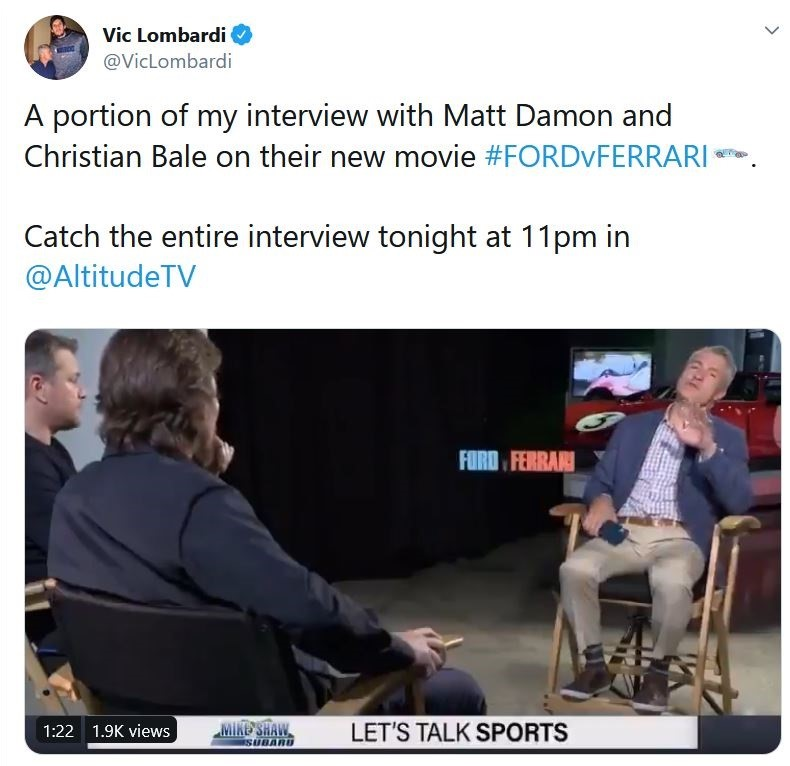 vic lombardi interviews matt damon and Christian Bale