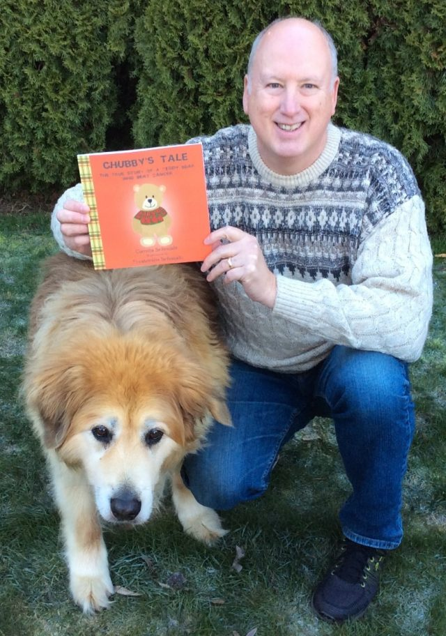 photo of gogs with newly arrived copy of chubby's tale
